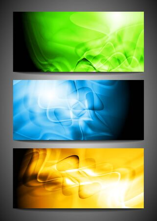 Bright colorful banners with waves.  Vector