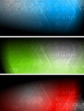 Set of abstract hi-tech banners Stock Vector - 13205346