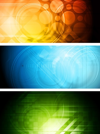 Set of abstract technology banners. Eps 10 vector
