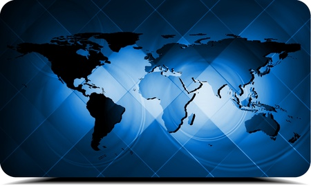 Dark blue background with world map Stock Vector - 13848463