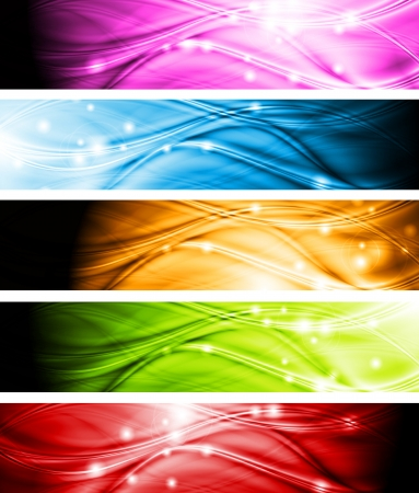 Set of wave abstract headers  Vector background eps 10
