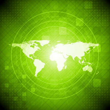 Green hi-tech background with world map  Vector illustration eps 10 Vector