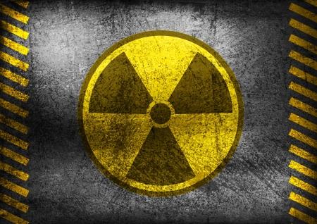 riesgo quimico: Símbolo de la radiación nuclear en la pared de fondo grunge Vectores