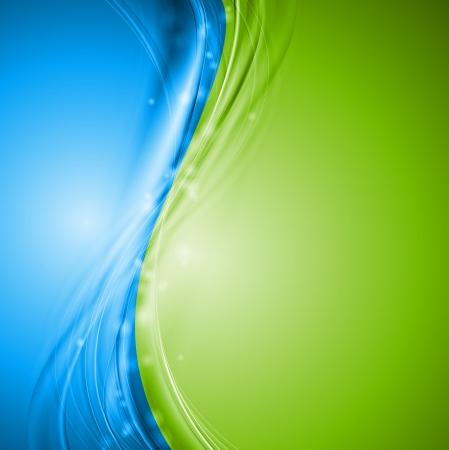 녹색과 파란색 물결 모양의 디자인 일러스트
