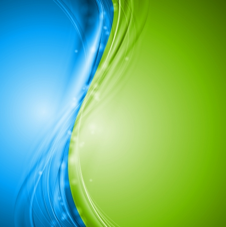 green lines: Green and blue wavy design  Illustration