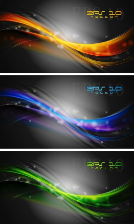Elegant banners  Colourful abstract waves on the black background Vector