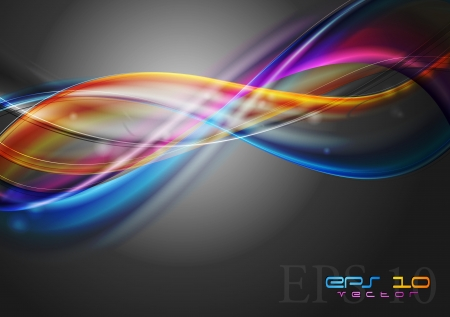 digital wave: Abstract colourful waves on the dark background  Vector illustration