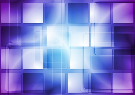 Blue and violet tech background with square texture vector illustration Vector
