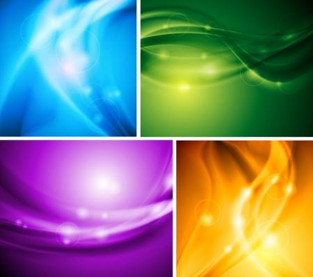 Set of bright wavy backgrounds. Vector design eps 10 Stock Vector - 15994558