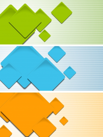 Abstract colourful banners with square elements. Vector design eps 10 Stock Vector - 15994524