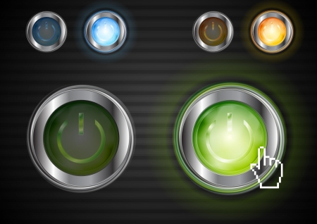 Power colorful buttons with the same illumination.  Vector