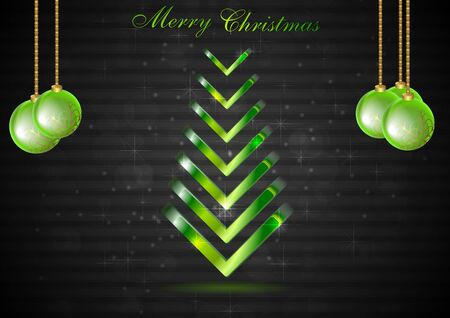 Elegant Christmas fir tree with green balls   Vector