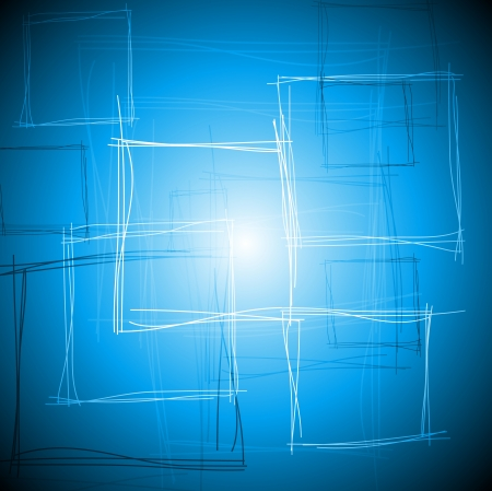 Abstract tech drawing with squares Vector