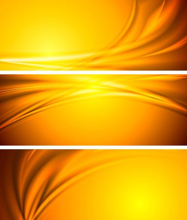 yellow background: Abstract orange sunny banners.