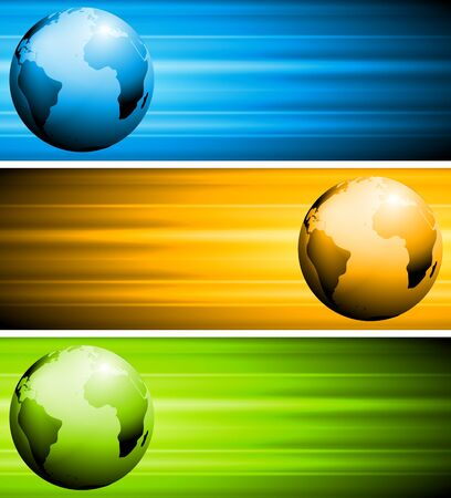 Colourful tech banners with globe. Vector