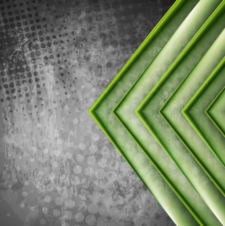 Astratto frecce verdi sul grunge sfondo grigio.