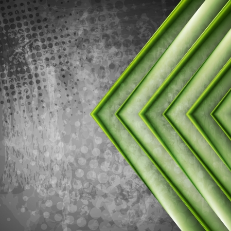 Abstract green arrows on the grey grunge background.  Vector