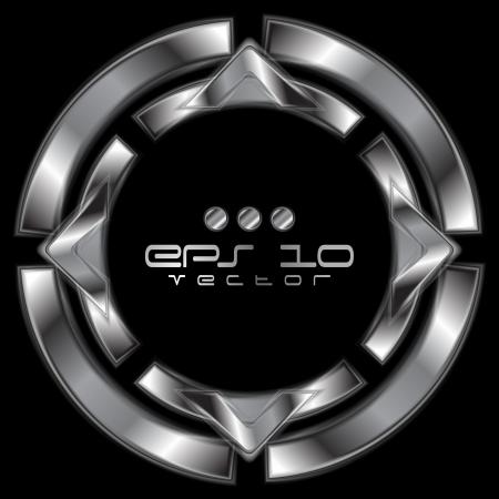tech logo: Abstract silver metallic shape. Illustration