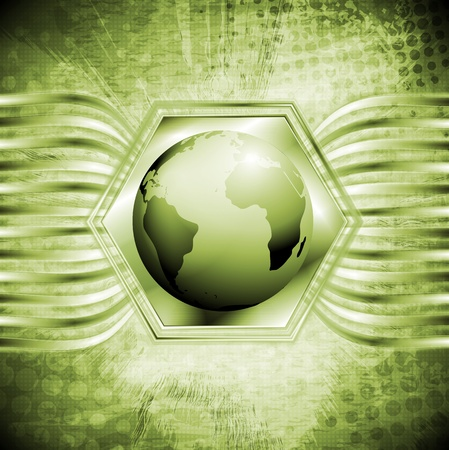 Grunge tech background with globe. Vector design eps 10 Vector