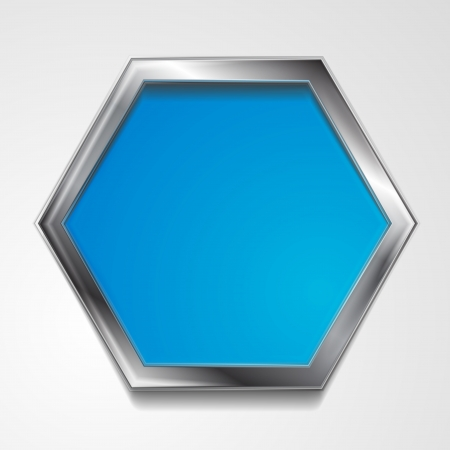 Abstract hexagon shape with silver frame. Vector