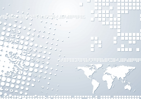 Abstract grunge tech design with world map. Vector background  Vector