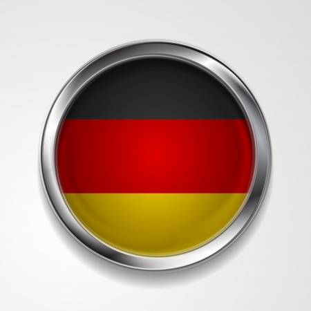 Abstract button with stylish metallic frame. German flag. Eps 10 vector background Vector