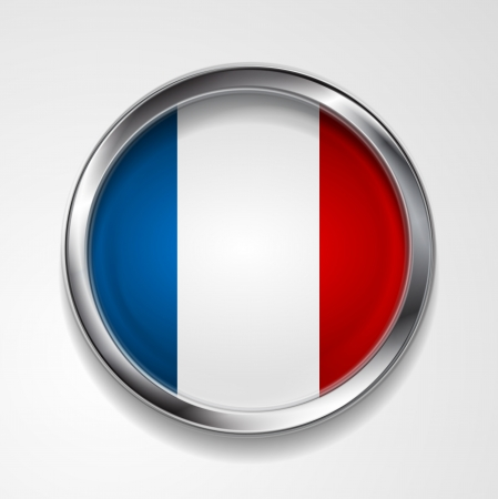 Abstract button with stylish metallic frame. French flag. Eps 10 vector background Stock Vector - 18410838