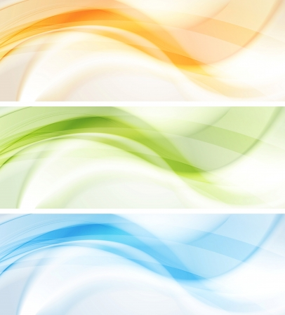 Abstract smooth wavy banners. Vector background eps 10 Vector