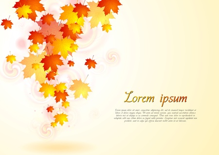 Abstract autumn background with falling leaves Stock Vector - 21596947