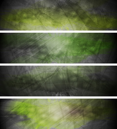 textural: Green textural banners in grunge style.