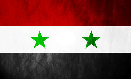 syrian war: Grunge illustration of Syrian flag. Vector background