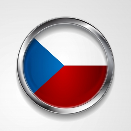 Abstract button with stylish metallic frame. Czech flag. Eps 10 vector background Vector