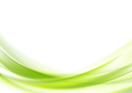 Bright green vector waves abstract background Çizim