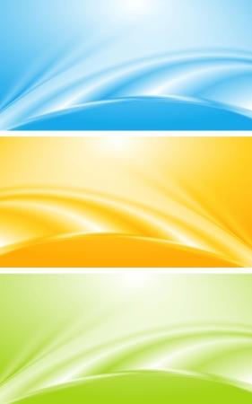 lineas onduladas: Resumen olas brillantes banners de dise�o Vectores