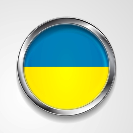Abstract button with stylish metallic frame. Ukrainian flag. Vector
