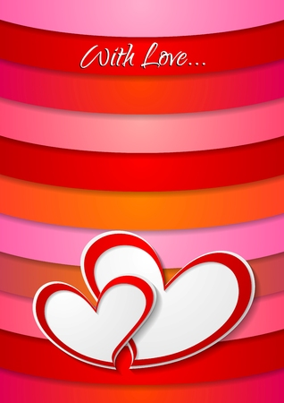 Valentines Day abstract background. Two vector paper hearts Vector