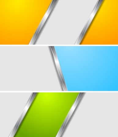 vector banners: Abstract bright metallic vector banners
