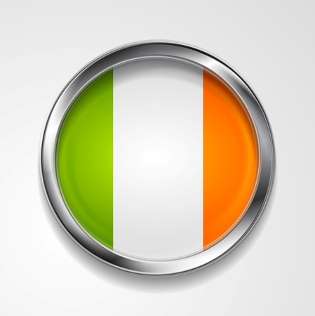 Abstract button with stylish metallic frame. Irish flag.  Vector