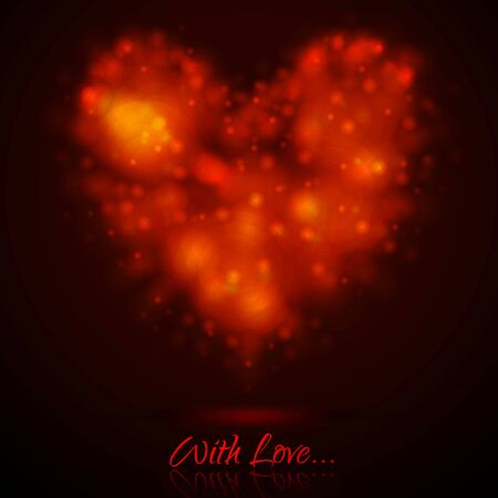 Shiny lights abstract glowing heart. Vector background Vector