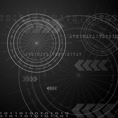 抽象的な背景が黒ハイテク  イラスト・ベクター素材