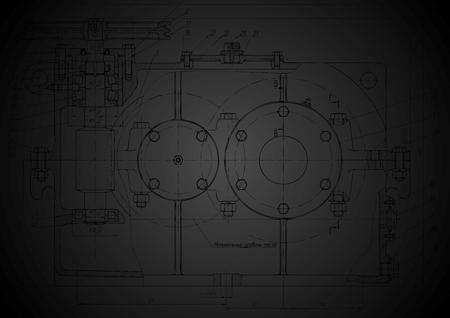 Dark abstract engineering drawing.  Vector