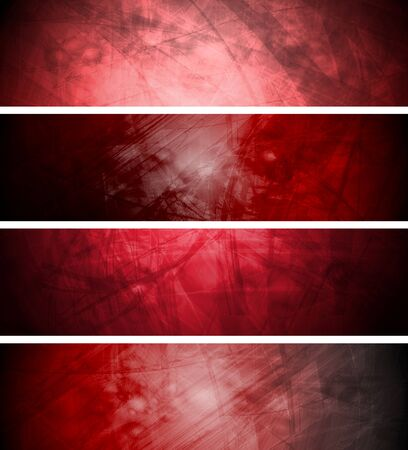textural: Red textural banners in grunge style. Vector background eps 10