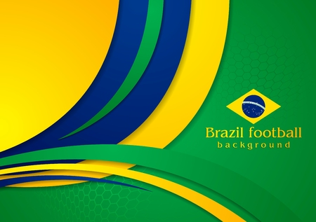 world cup: Bright wavy background in Brazilian colors