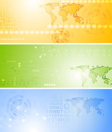 Bright technology banners collection Vector