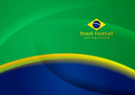 Waves football background in Brazilian colors Vector
