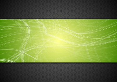 green and black: Abstract tech background with lines. Vector design Illustration