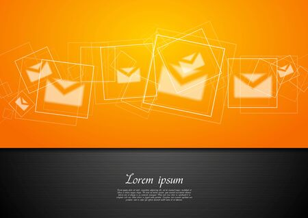 orange color: Abstract bright tech background with letters. Vector illustration Illustration