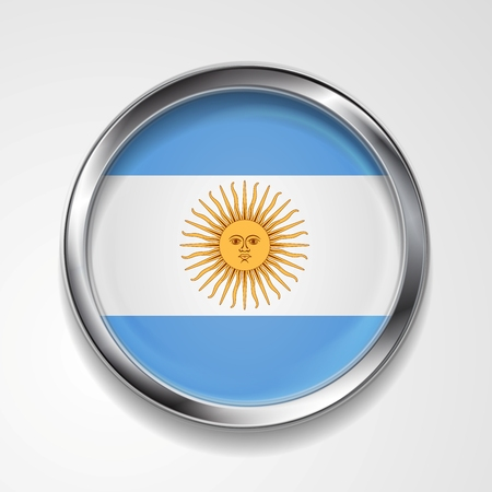argentinean: Abstract vector button with metallic frame. Argentinean flag Illustration