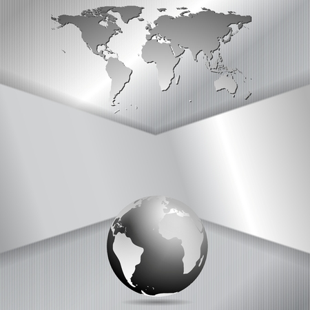 Abstract metal tech background with globe and map Vector