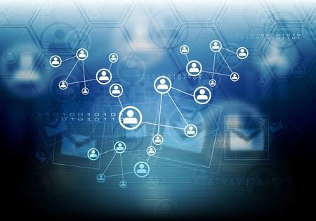 Concepto conectar equipo de fondo. Estilo de la tecnología, diseño de la plantilla vector de color azul oscuro